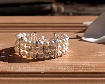 Swarovski Pearl and Diamante Cuff Style Bracelet