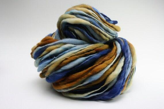 Thick and Thin Yarn Slub tts Merino Handspun Hand dyed Self Striping xxlr 09b