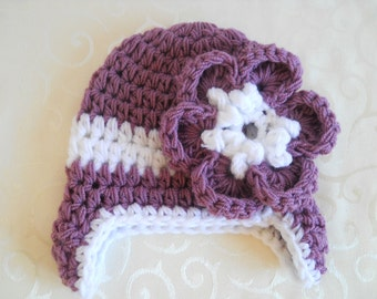 Crochet Baby Girl Hat Baby Earflap Hat With Flower