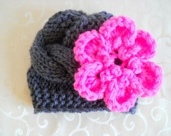 Newborn Baby Girl Hat With Flower