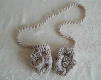 Knit Baby Mittens, Baby Thumbless Mittens, Baby Girl Mittens