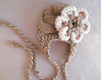 Baby Hat Flower, Newborn Baby Girl Hat, Newborn Hat Photo Prop Baby, Newborn Earflap Hat