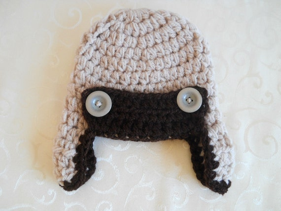 Newborn Baby Boy Hat, Aviator Hat, Earflap Crochet Hat, Oatmeal and Taupe