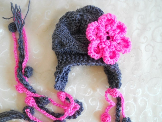 Baby Girl Hat With Flower - Hand Knitted Baby Hat - Baby Ear Flap Hat