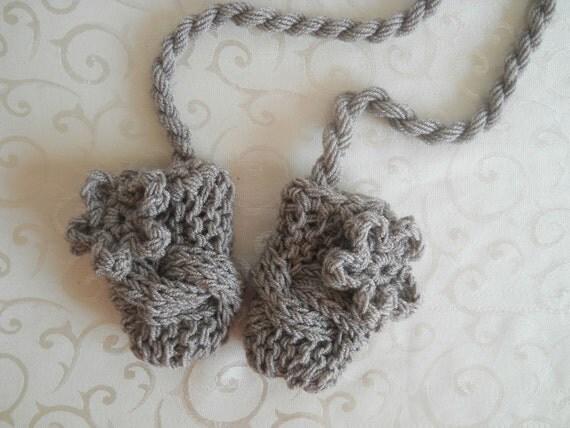 Knit Baby Mittens, Baby Thumbless Mittens, Baby Girl Mittens, Newborn Mittens
