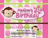 Mod Monkey INSPIRED Theme Birthday Party digital candy bar wrapper