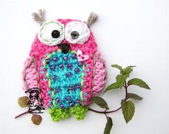 GERMANY version of Crochet owl applique pattern, DIY