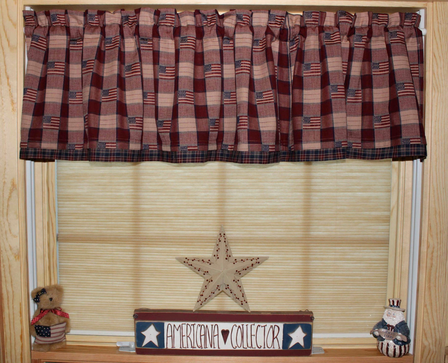 Primitive americana country curtain window valance - Finestre all americana ...