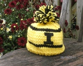 Iowa Hat  ,   Bright Gold and Black Let your Favorite team Colors Shine