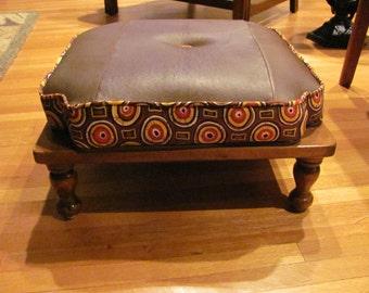 Mid Century 50's Vintage Ethan Allen Footstool - ReDesigned - GREEN