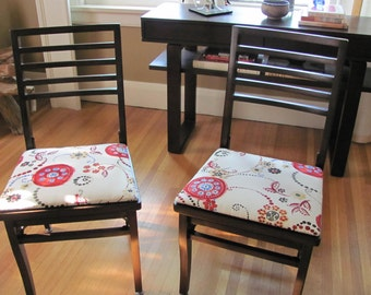 Vintage WOOD Folding Chairs (2) Abstract ART Chairs