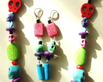 Sale was 37 now 32 Multicoloured Day of the Dead Rockabilly Goth Skull  Necklace and Matching Earrings