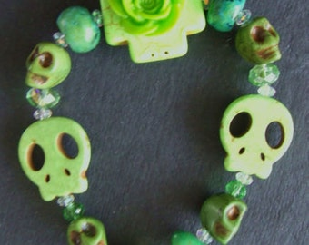 SALE was 13 now 10 Shades of Green  Day of the Dead Skull Goth Rockabilly Elasticated Bracelet -OOAK