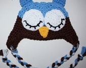 Newborn to 3 mos, Boy Owl Hat, Earflaps, Tassles, Ready to Ship, Periwinkle/Chocolate