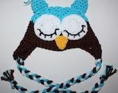 Newborn to 3 mos, Boy Owl Hat, Earflaps, Tassles, Ready to Ship, Aqua/Chocolate/White