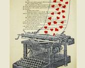 Love letter- ORIGINAL ARTWORK Mixed Media, Hand Painted on 1920 famous Parisien Magazine 'La Petit Illustration'