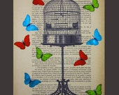 Butterflies around birdcage - ORIGINAL ARTWORK Mixed Media, Hand Painted  on 1920 Parisien Magazine 'La Petit Illustration' xyz