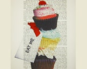 Eat Me : Poster Print / Mixed Media / Gift For Her / Digital Print / Drawing Illustration / Handmade Painting / Vintage Art x