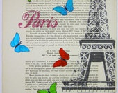 Butterflies from Paris - ORIGINAL ARTWORK Hand Painted Mixed Media on 1920 famous Parisien Magazine 'La Petit Illustration' by Coco De Paris