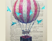 Air balloon with blue birds- Original Illustration-Art Print-Art Poster- Hand Painting Mixed Media- French 1920 Vintage Paper