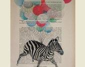 Flying zebra- ORIGINAL ARTWORK Hand Painted Mixed Media on 1920 famous Parisien Magazine 'La Petit Illustration'