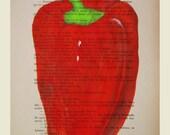 Red pepper- ORIGINAL ARTWORK Hand Painted Mixed Media on 1920 famous Parisien Magazine 'La Petit Illustration' xyz