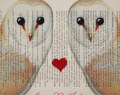 Your names with 2 owls in love- ORIGINAL personalized ARTWORK Mixed Media, Hand Painted  on 1920 Magazine 'La Petit Illustration' xyz