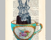 Rabbit in a cup- Original Illustration-Art Print-Art Poster- Hand Painting Mixed Media- French 1920 Vintage Paper