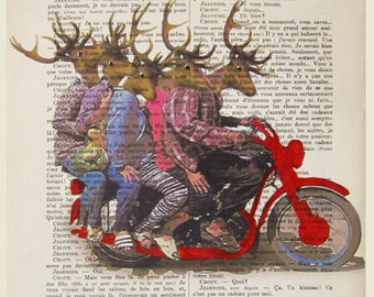 5 deers on a motorbike - ORIGINAL ARTWORK Mixed Media-Digital Illustration Print-Art Poster-Holiday Decor-Illustration-Gift For Him