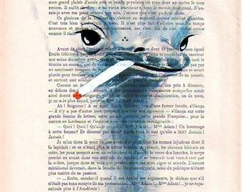 Smoking ostrich-ORIGINAL ARTWORK Hand Painted Mixed Media-Original Illustration-Antique paper-Africa-Nature-Safari-Zoo