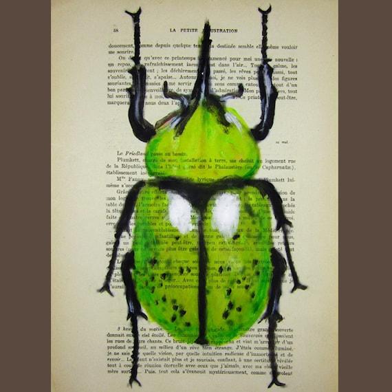 Green Beetle - ORIGINAL ARTWORK Hand Painted Mixed Media on 1896 famous Parisien Magazine 'La Petit Illustration' by Coco De Paris