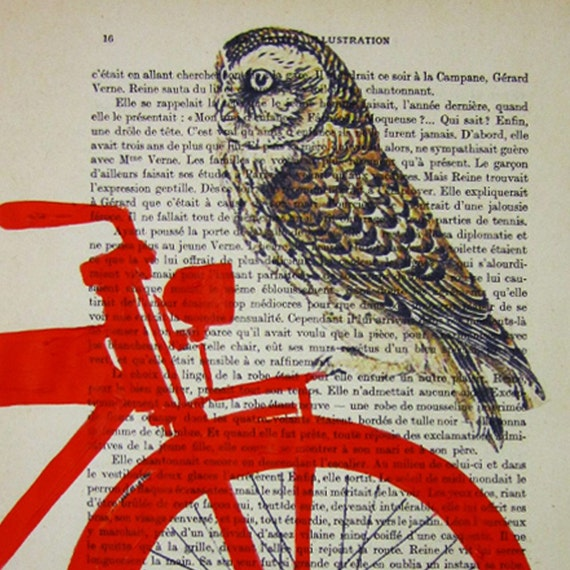 Owl on red bicycle - ORIGINAL ARTWORK Mixed Media, Hand Painted  on 1917 famous Parisien Magazine 'La Petit Illustration' by Coco De Paris