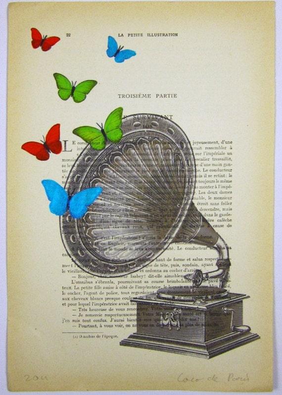 Butterfly music - ORIGINAL ARTWORK Hand Painted Mixed Media on 1920 famous Parisien Magazine 'La Petit Illustration' by Coco De Paris