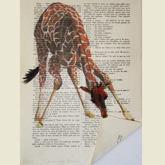 Giraffe folding a paper- ORIGINAL ARTWORK Hand Painted Mixed Media on 1920 famous Parisien Magazine 'La Petit Illustration'