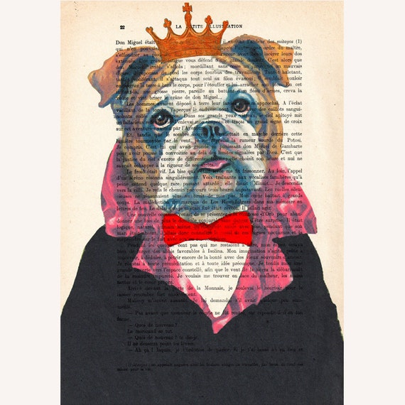 The Original Bulldog King- ORIGINAL ARTWORK Hand Painted Mixed Media on 1920 famous Parisien Magazine 'La Petit Illustration' xyz