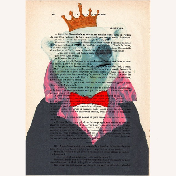 The Original Bear King-Mixed Media-Digital Illustration Print-Art Poster-Acrylic Painting-Holiday Decor - Drawing Illustration-Gift For Her