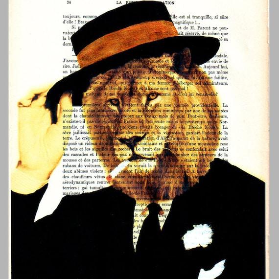 Smart Dressed Lion - Original Illustration-Art Print-Art Poster- Hand Painting Mixed Media- French 1920 Vintage Paper