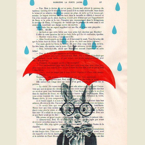 Raining Rabbit - Original Illustration-Art Print-Art Poster- Hand Painting Mixed Media- French 1920 Vintage Paper