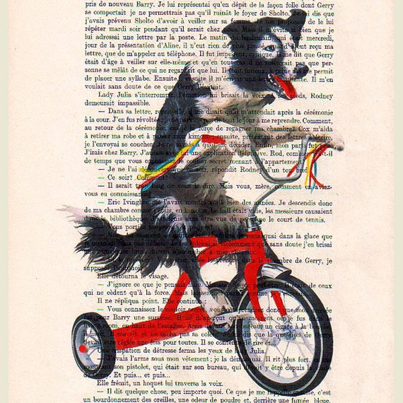 Doggy on red bicycle- ORIGINAL ARTWORK Hand Painted Mixed Media on 1920 famous Parisien Magazine 'La Petit Illustration' by Coco De Paris