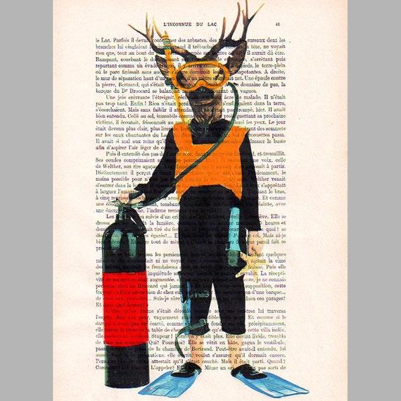 Diver deer - ORIGINAL ARTWORK Hand Painted Mixed Media on 1920 famous Parisien Magazine 'La Petit Illustration' xyz