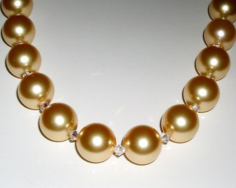 Golden Pearl and Clear Crystal Necklace