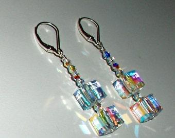 SALE! Elegant Clear AB Swarovski Crystal Cube Earrings