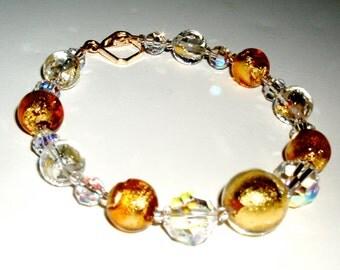 SALE - 24K Gold Murano Glass and Crystal Bracelet