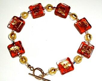 Gold and Crimson Murano Glass Bracelet