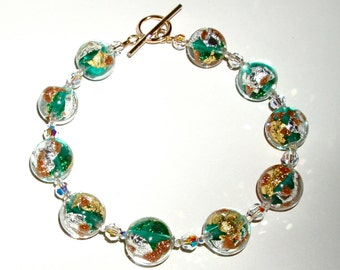Gold, Green, and Clear Murano Glass NECKLACE