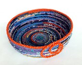 Large Round Coiled Basket Bowl - Deep Ocean Reef