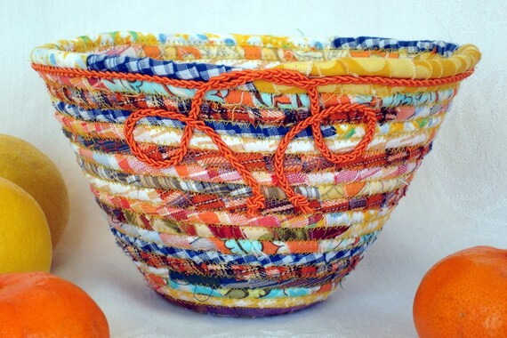 Coiled Fabric Basket Bowl - Lemon Orange - Braided Cord Medium