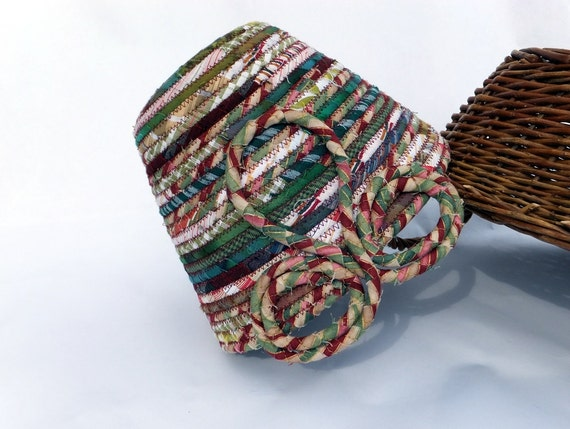 Coiled Bowl - Triple-Loop and Coil Handle - Earthy Greens and Burgundy