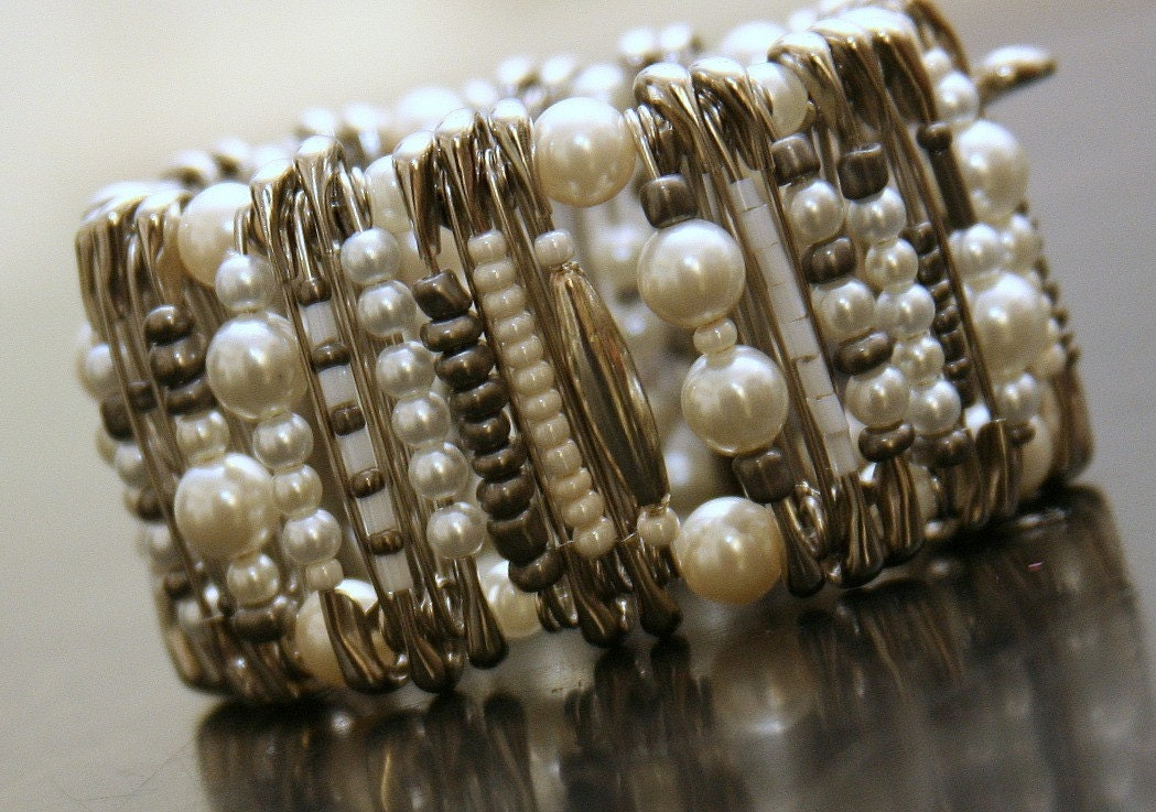 Big pearl pinlet safety pin bracelet bridal jewelry for Safety pins for jewelry making