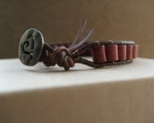 Vintage Cranberry Japanese Ceramic Bead Leather Wrap Bracelet with Hammered Heart Button
